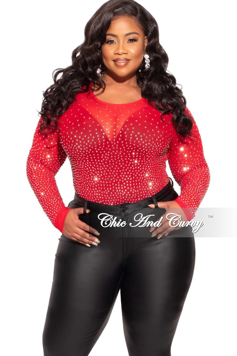 Final Sale Plus Size Bodysuit in Red with Stones