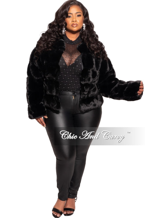 Final Sale Plus Size Fur Coat in Black