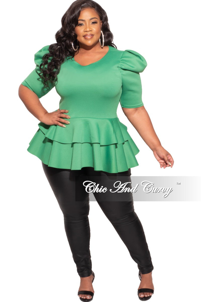 Final Sale Plus Size Top with Puffy Sleeves and Ruffle Bottom in Green