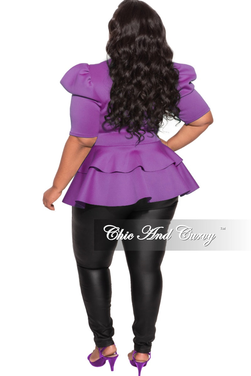 Final Sale Plus Size Top with Puffy Sleeves and Ruffle Bottom in Purple