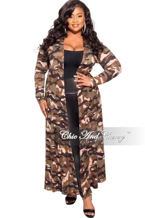 New Plus Size Duster in Camouflage