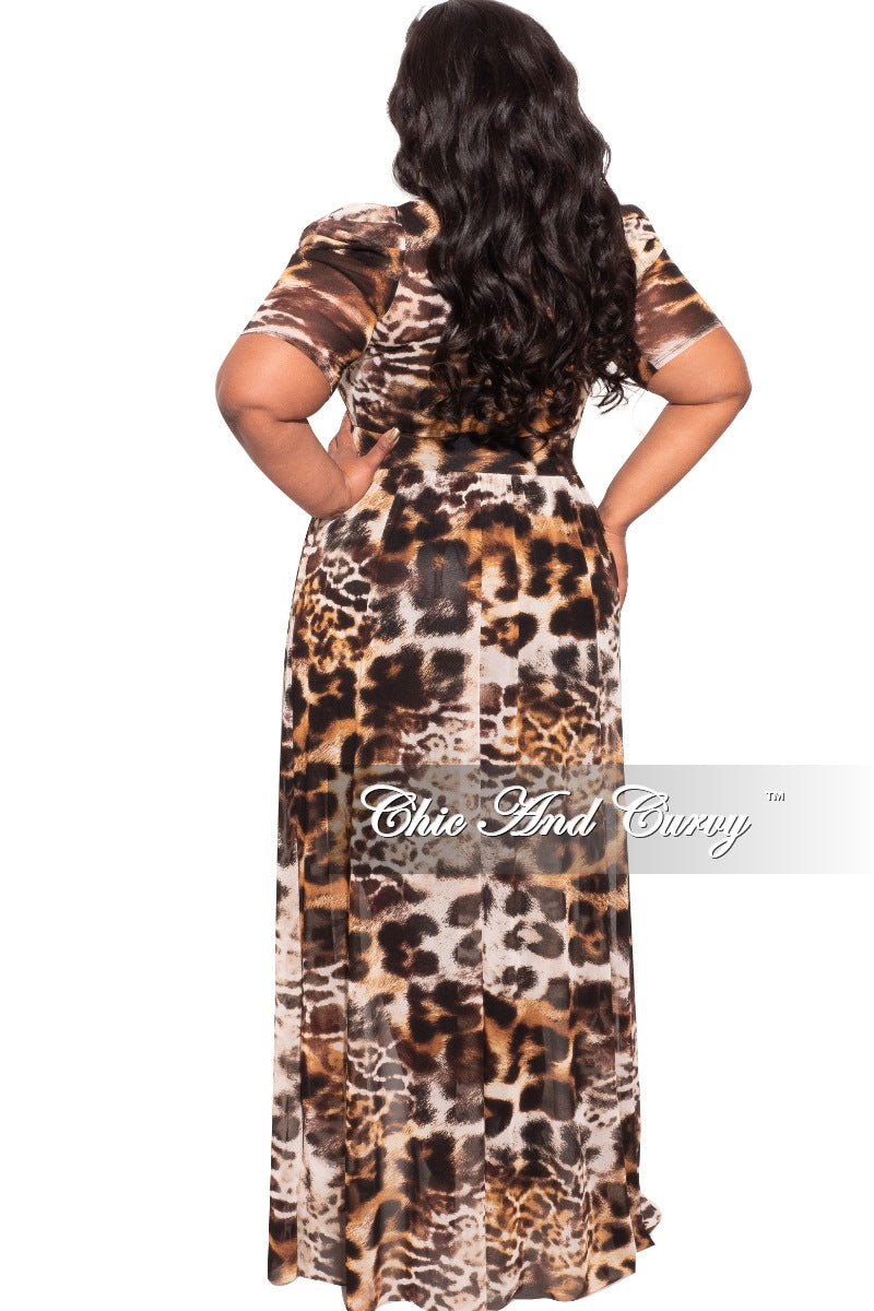 Final Sale Plus Size Mesh Top with Train in Cheetah Print