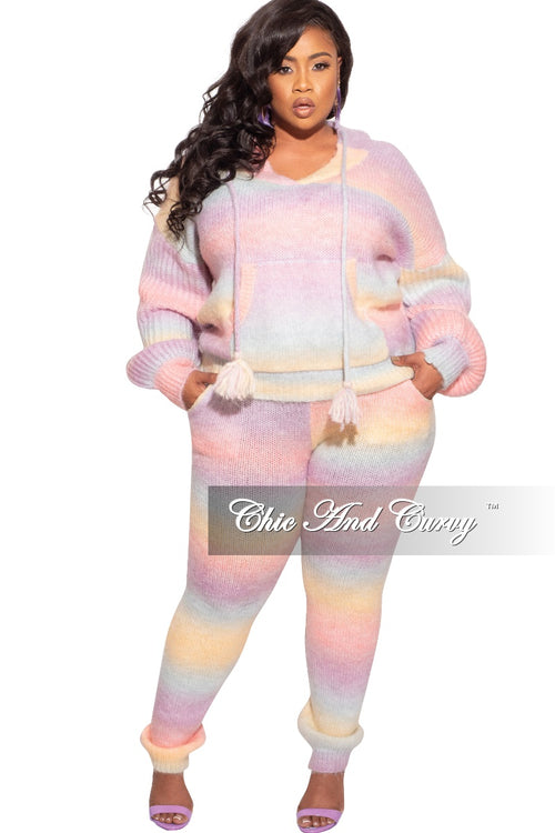 Final Sale Plus Size 2-Piece Sweater Pants Set in Rainbow Unicorn