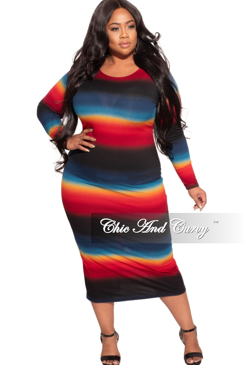 Final Sale Plus Size BodyCon Midi Dress in Ombre Sunset Print