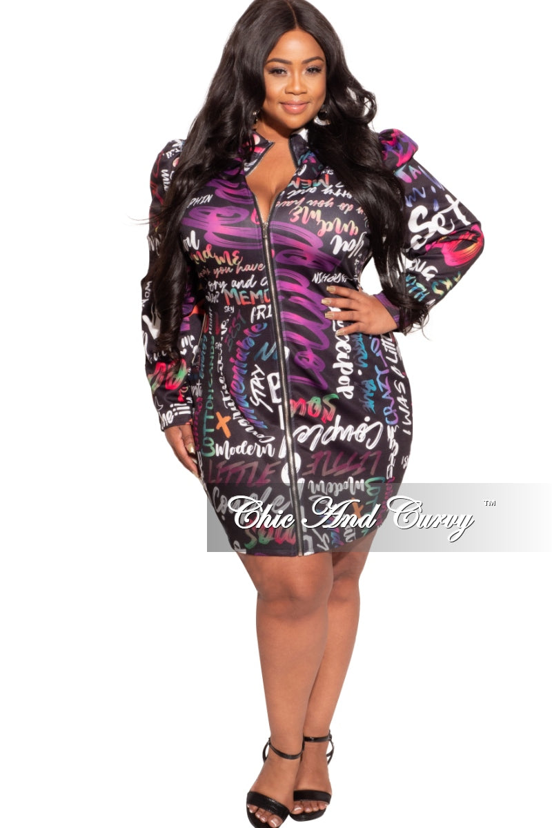 Final Sale Plus Size Mini BodyCon Dress in Multi-Color Print