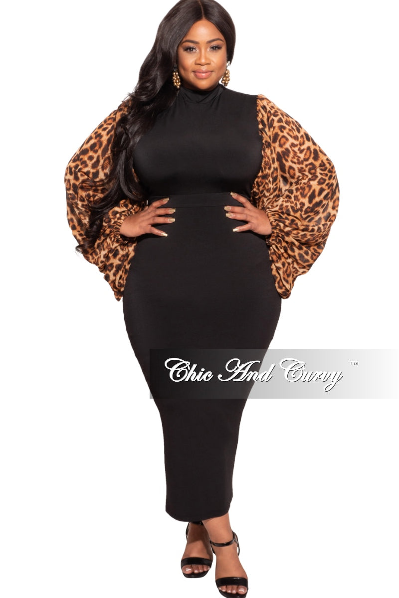 Final Sale Plus Size Exaggerated Sheer Organza Animal Print Puffy Sleeve Bodycon Dress in Black