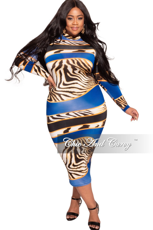 *Final Sale Plus Size Bodycon Dress in Royal Blue & Animal Print