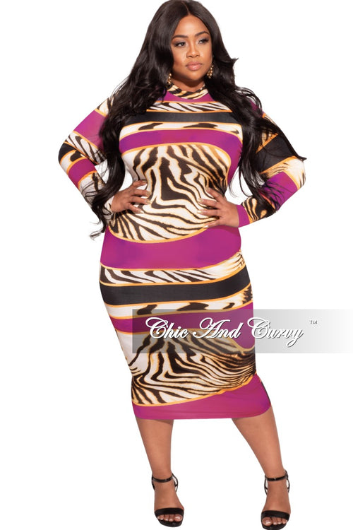 *Final Sale Plus Size Bodycon Dress in Fuchsia & Animal Print
