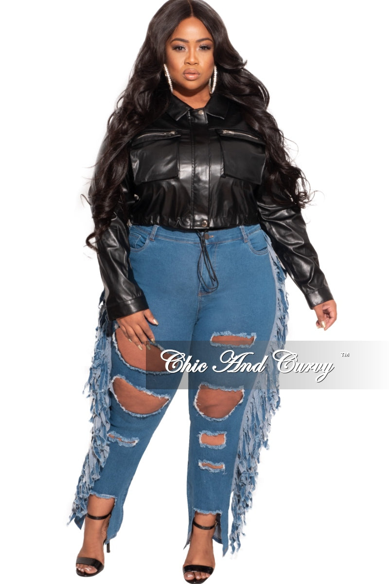 New Plus Size Faux Leather Cropped Jacket