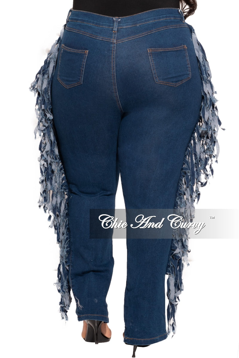 New Plus Size Destructed Jeans with Fringe in Dark Denim