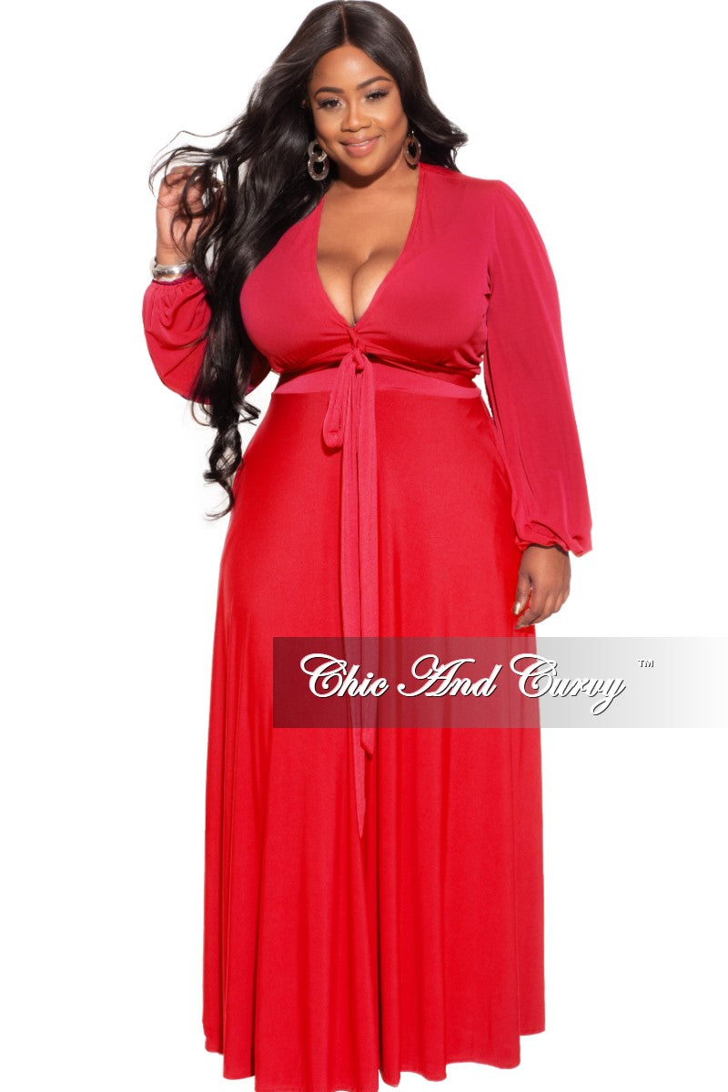 New Plus Size 2-Piece Maxi Skirt Set in Red