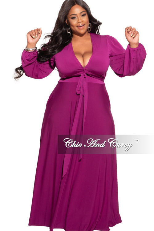 New Plus Size 2-Piece Maxi Skirt Set in Purple