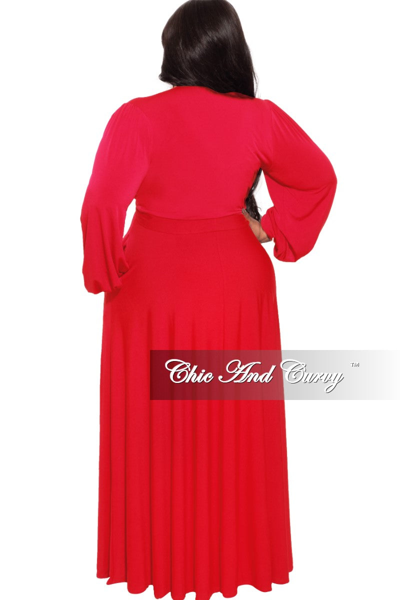 *Final Sale Plus Size 2-Pc Maxi Skirt Set in Red
