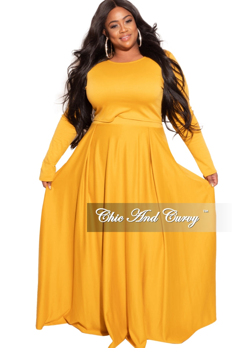 Final Sale Plus Size 2-Piece Maxi Skirt Set with Round Neck in Mustard
