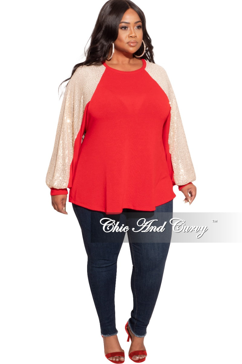 Final Sale Plus Size Knit Top with Sequins Sleeves in Red and Gold