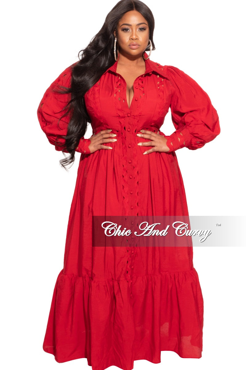 New Plus Size Long Dress in Red