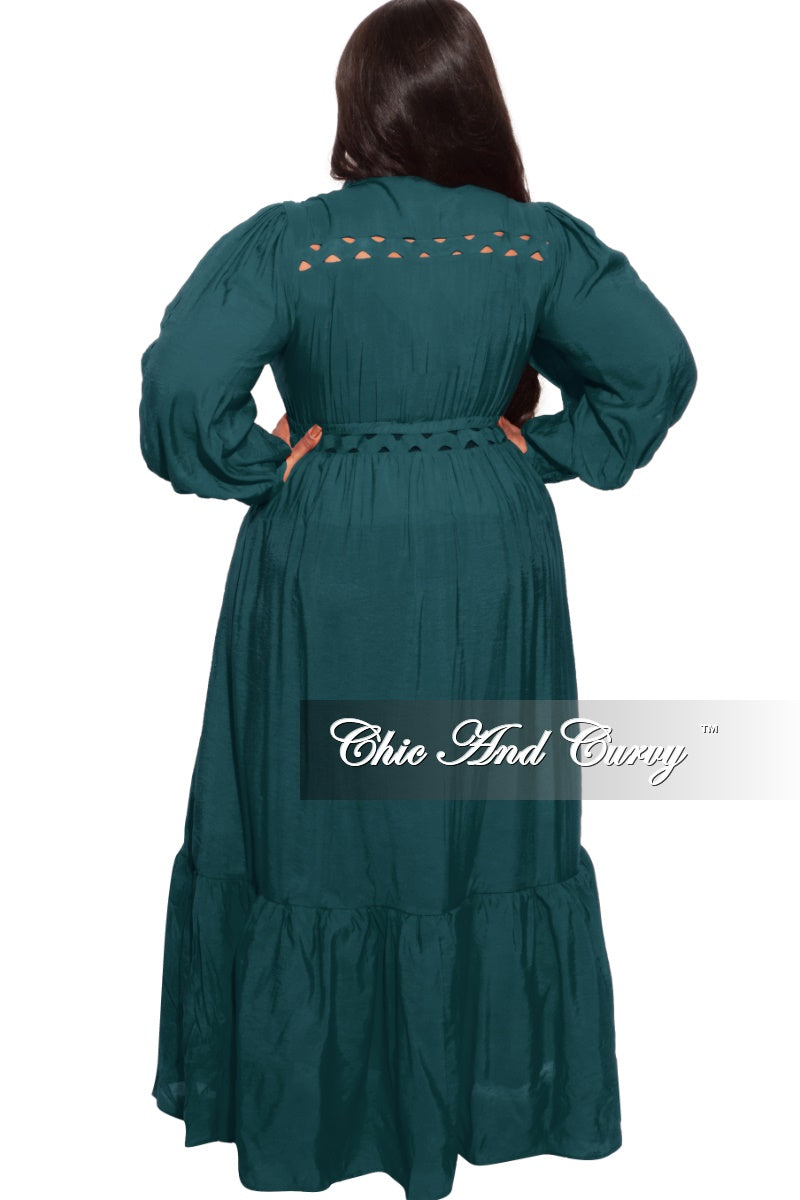 New Plus Size Long Dress in Green (Dark Teal)