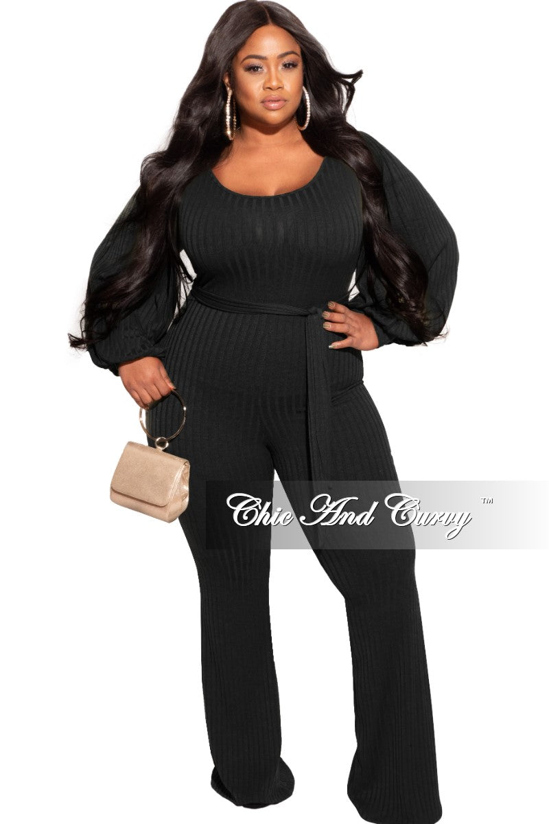New Plus Size Ribbed Jumpsuit with Balloon Sleeves in Black