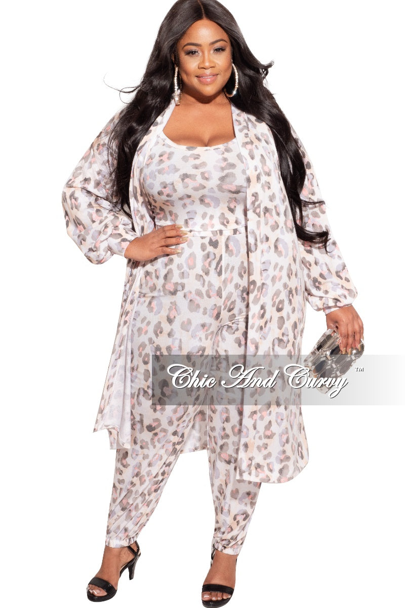 Final Sale Plus Size 3-Piece Duster, Tank Top and Pants Set in Tan, Pink and Grey
