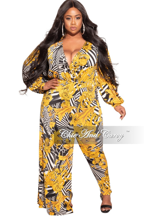 Final Sale Plus Size 2-Piece Set with Bodysuit and Pants in Mustard, Black and White Print