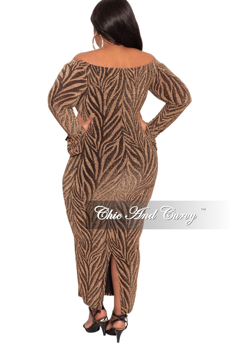 Final Sale Plus Size Off the Shoulder BodyCon Dress with Flared Sleeves in Gold Animal Print