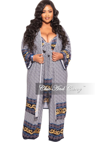 Final Sale Plus Size 2-Piece Collared Faux Wrap Bodysuit and Pants Set in Brown Print