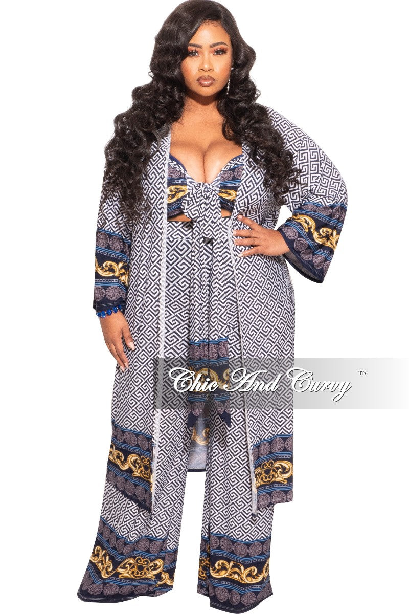 Final Sale Plus Size 3pc (Duster, Bandeau Top & Pants) Set in Navy, White and Gold