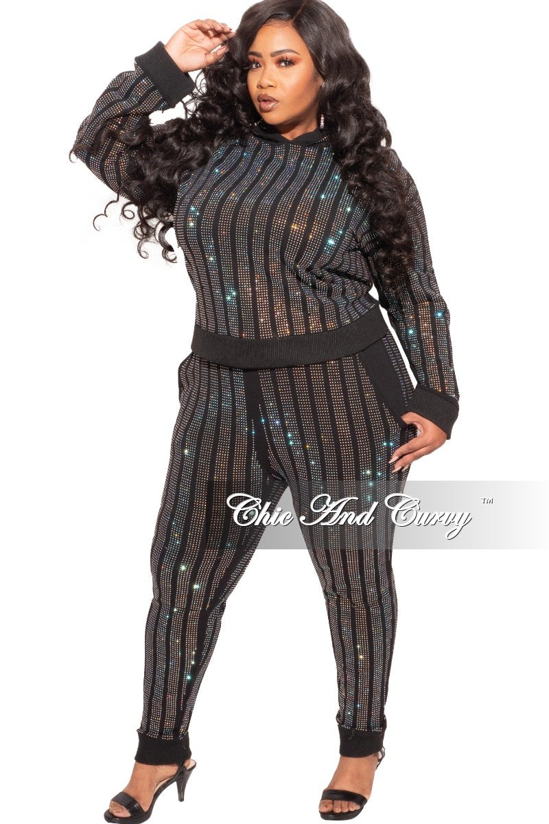New Plus Size Long Sleeve Hooded Jogging Set in Black Mirror Ball