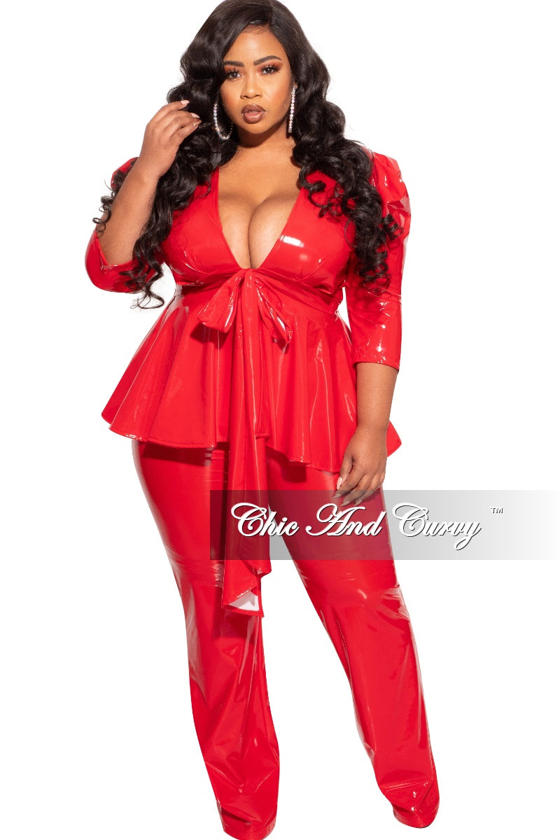 Final Sales Plus Size 2-Piece Latex Peplum Top and Pants Set in Red
