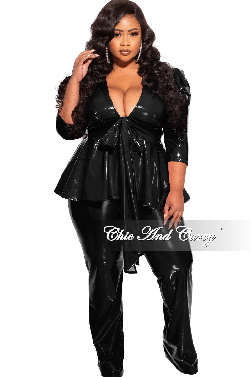 Final Sales Plus Size 2-Piece Latex Peplum Top and Pants Set in Black