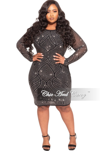Final Sale Plus Size Faux Wrap Sequin BodyCon Dress in Black & Silver Iridescent