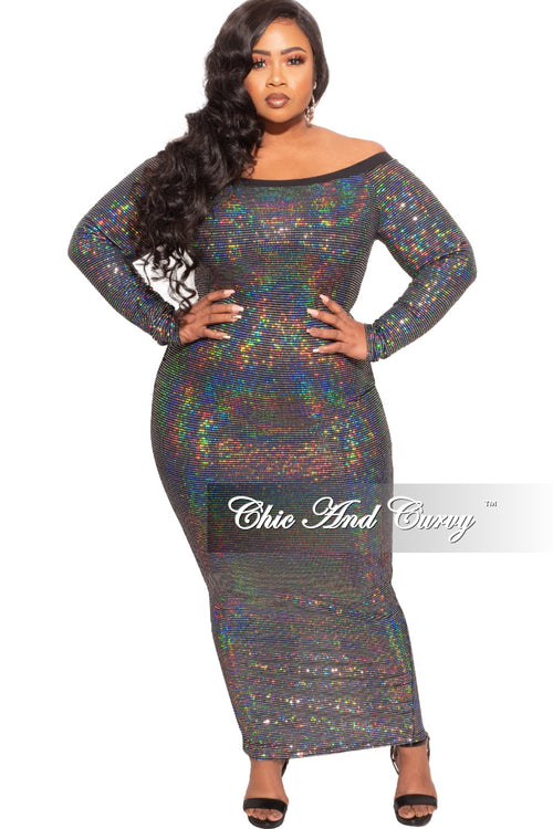 Final Sale Plus Size Off The Shoulder Faux Sequin Gown with Back Slit in Black/Silver