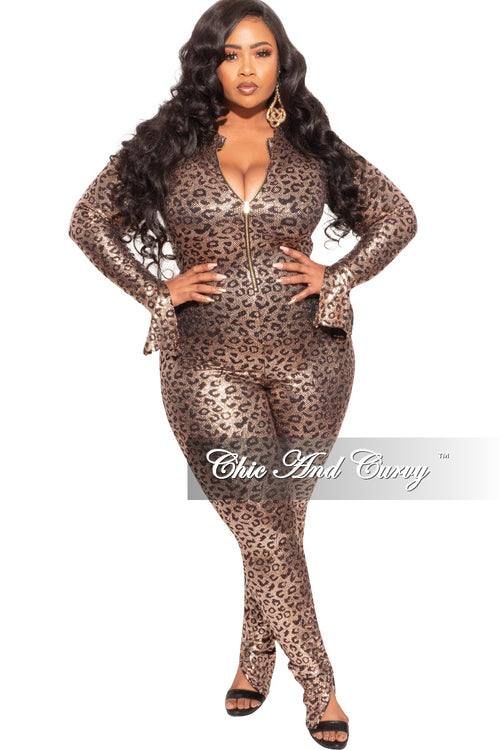 Final Sale Plus Size Zip-Up Jumpsuit in Gold Cheetah Print