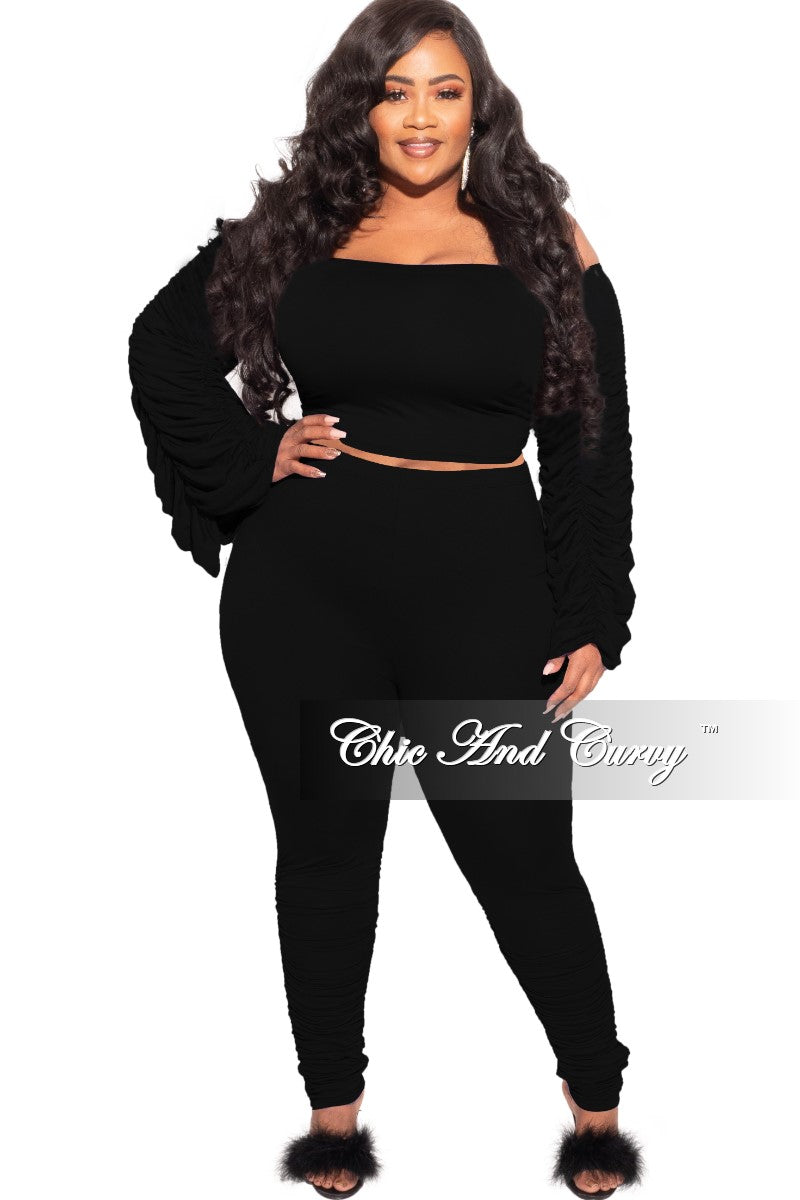 Final Sale Plus Size 2-Piece Set Ruched Top and Pants Set in Black