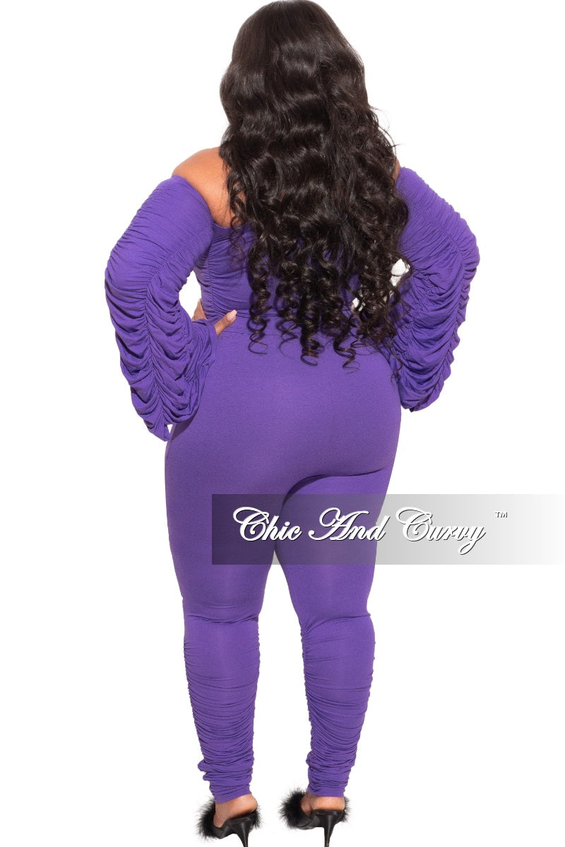 Final Sale Plus Size 2-Piece Set Ruched Top and Pants Set in Purple