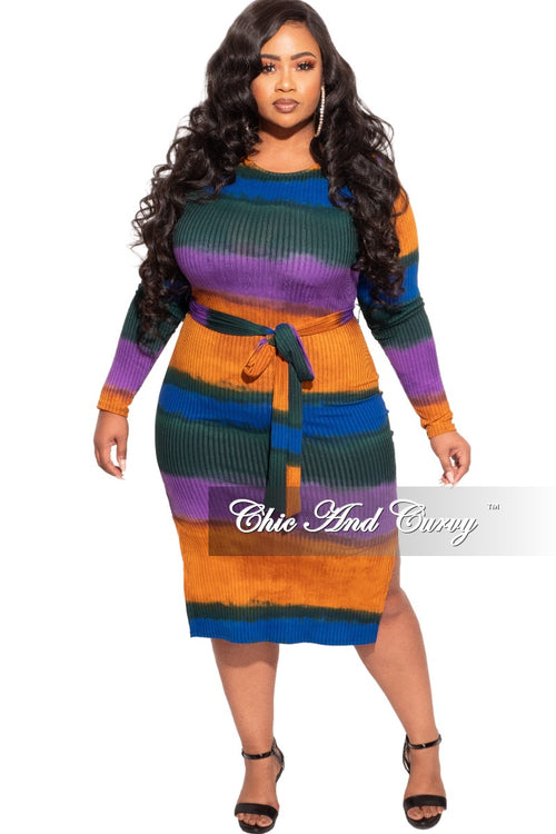 New Plus Size Ribbed Knit BodyCon Dress Multi-Color Print with Side Slits