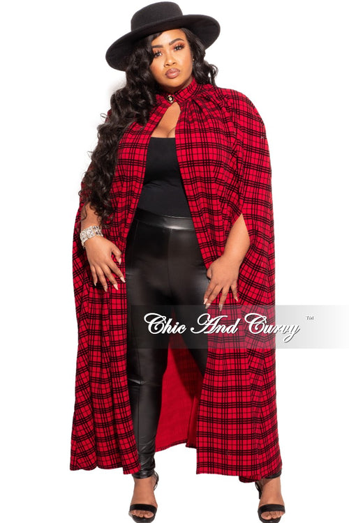 New Plus Size Throw Over Poncho in Red and Black Plaid