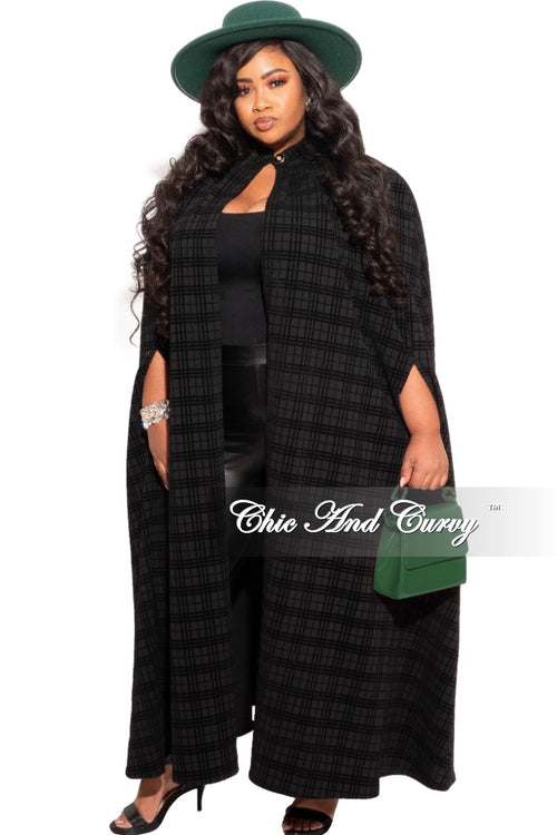 New Plus Size Throw Over Poncho in Black & Grey Print