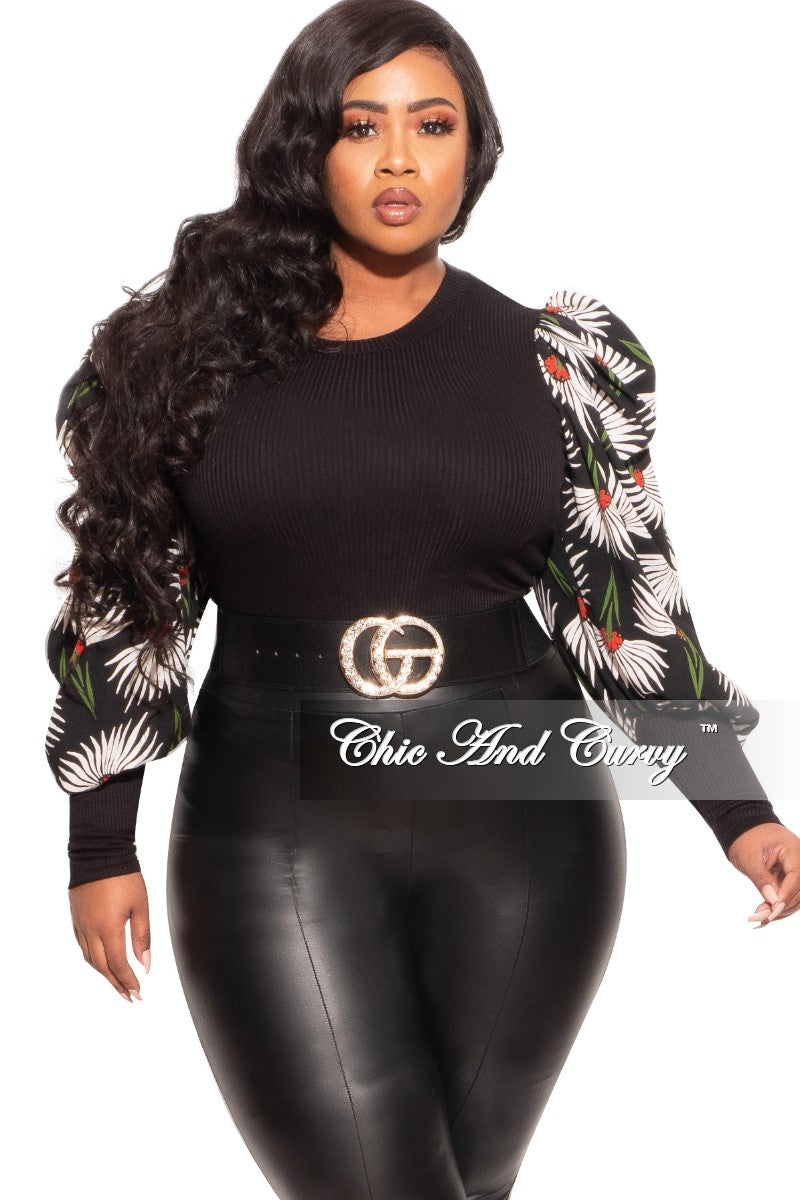 Final Sale Plus Size Long Sleeve Ribbed Top with Puffy Sleeves in Black Floral Print Love