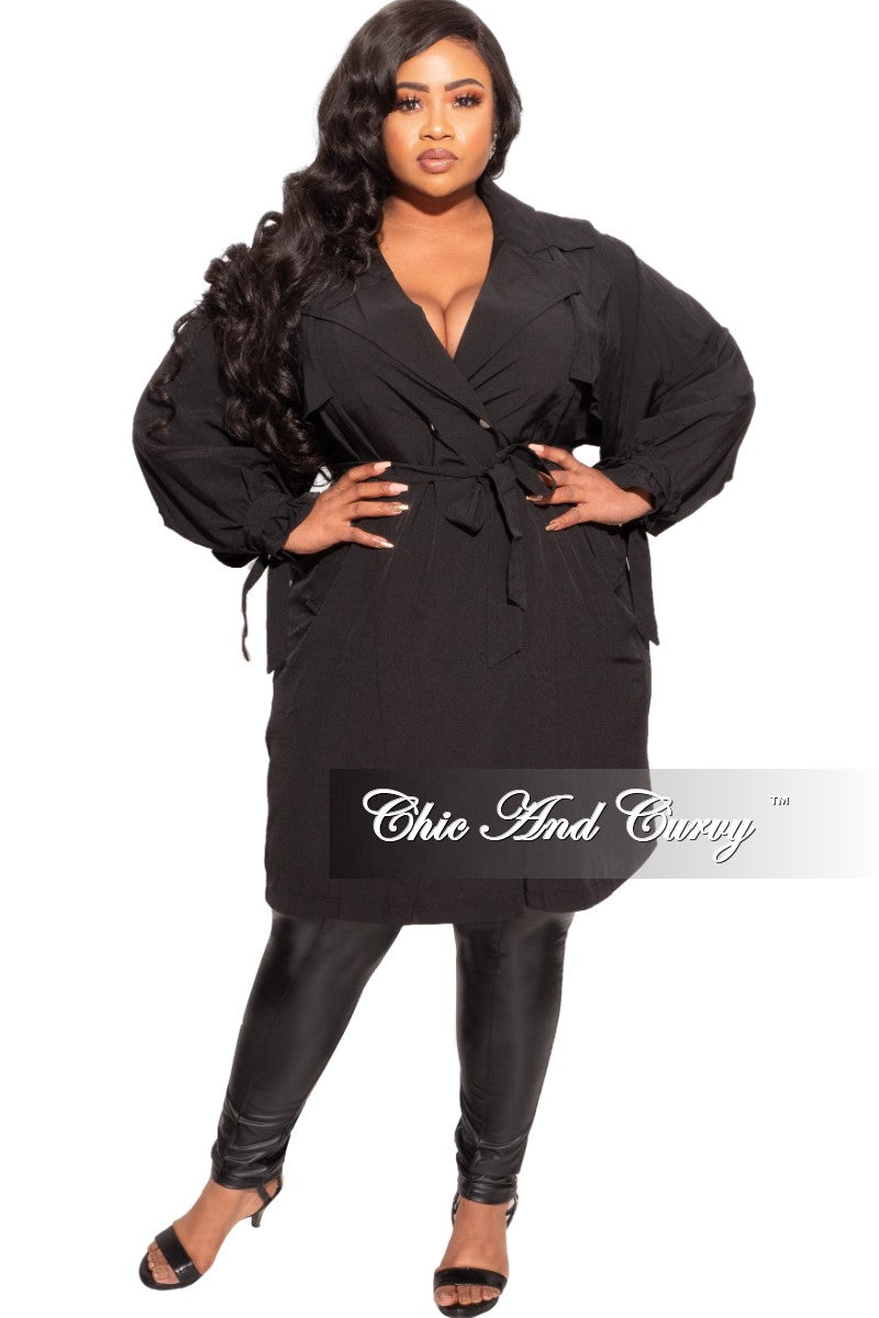 Final Sale Plus Size Lightweight Short Trench Coat with Overlay Back