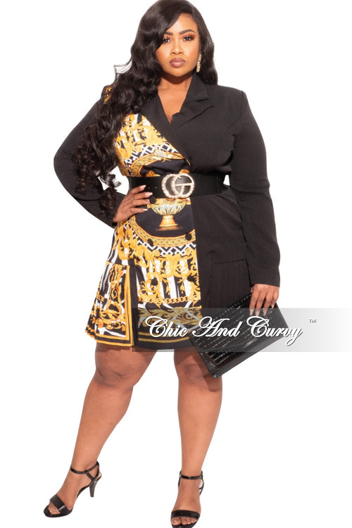 New Plus Size Blazer Dress with Gold & Black Print