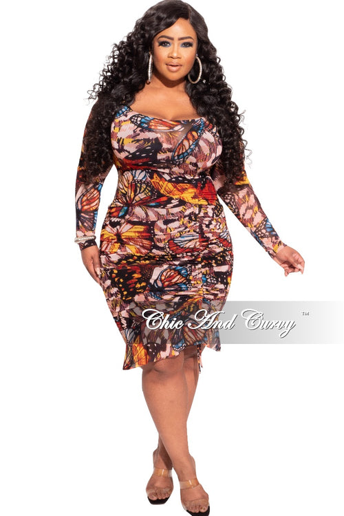 New Plus Size BodyCon Dress w/ Mesh and Ruched Side in Butterfly Print