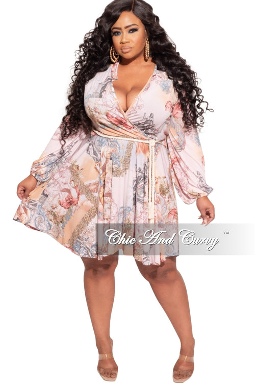 New Plus Size Babydoll Dress in Light Pink Grecian Print