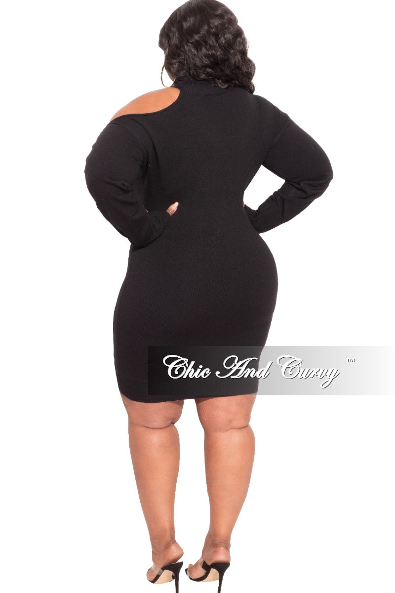 New Plus Size Turtleneck Sweater/Dress with Shoulder out in Black