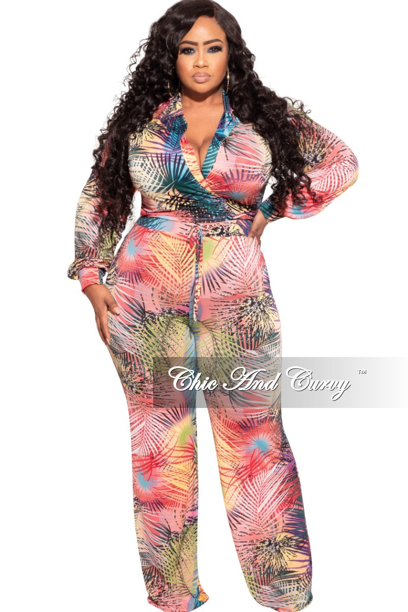 New Plus Size 2-Piece Tie Crop Top and Palazzo Pant Set in Multi-Color Palm Print