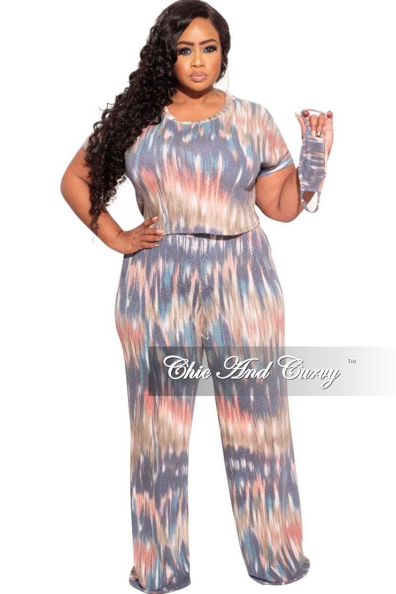 Final Sale Plus Size 2-Pc (Top & Pants) Set in Grey Print