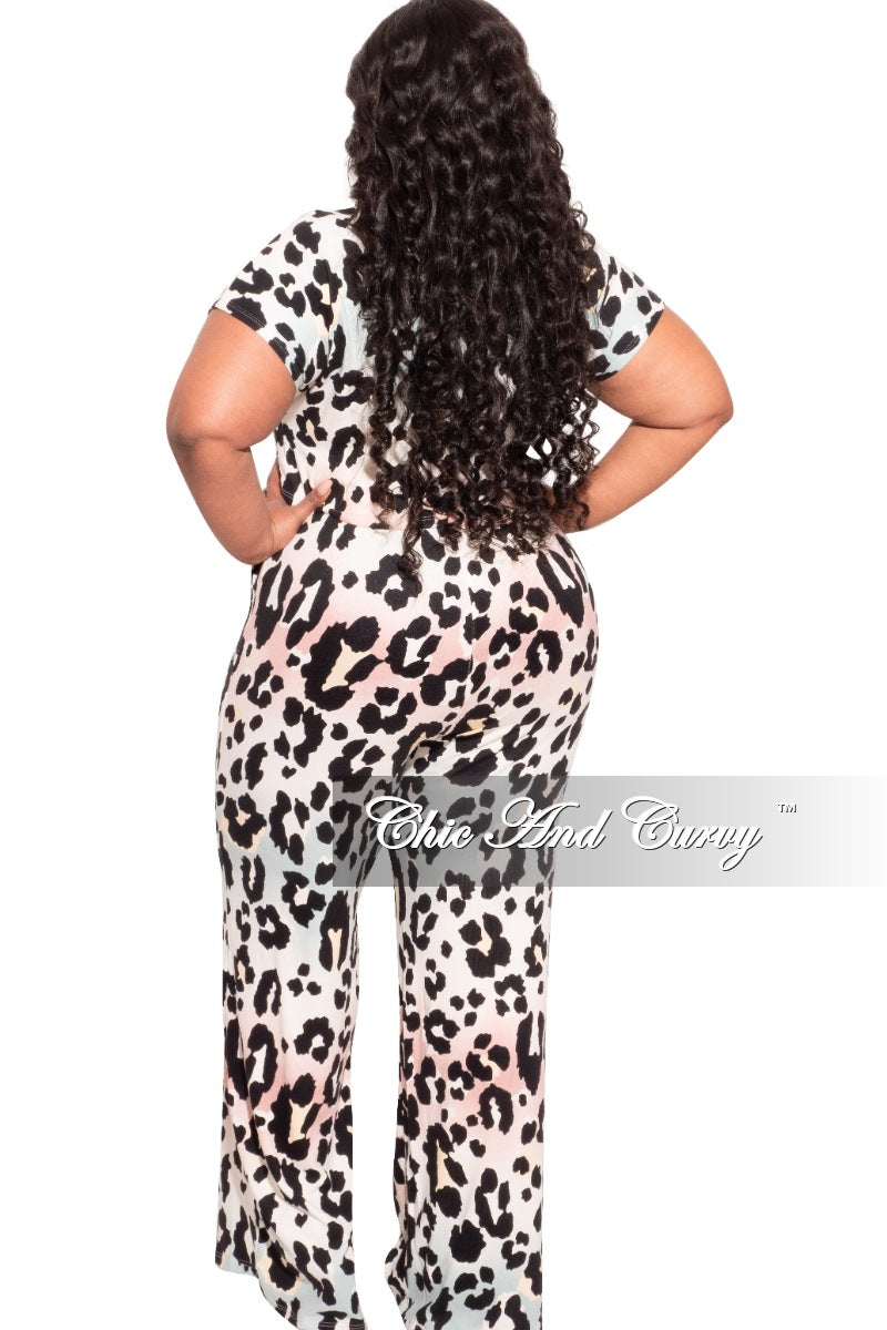 New Plus Size 2-Piece Pants Set in Light Multi-Color Animal Print