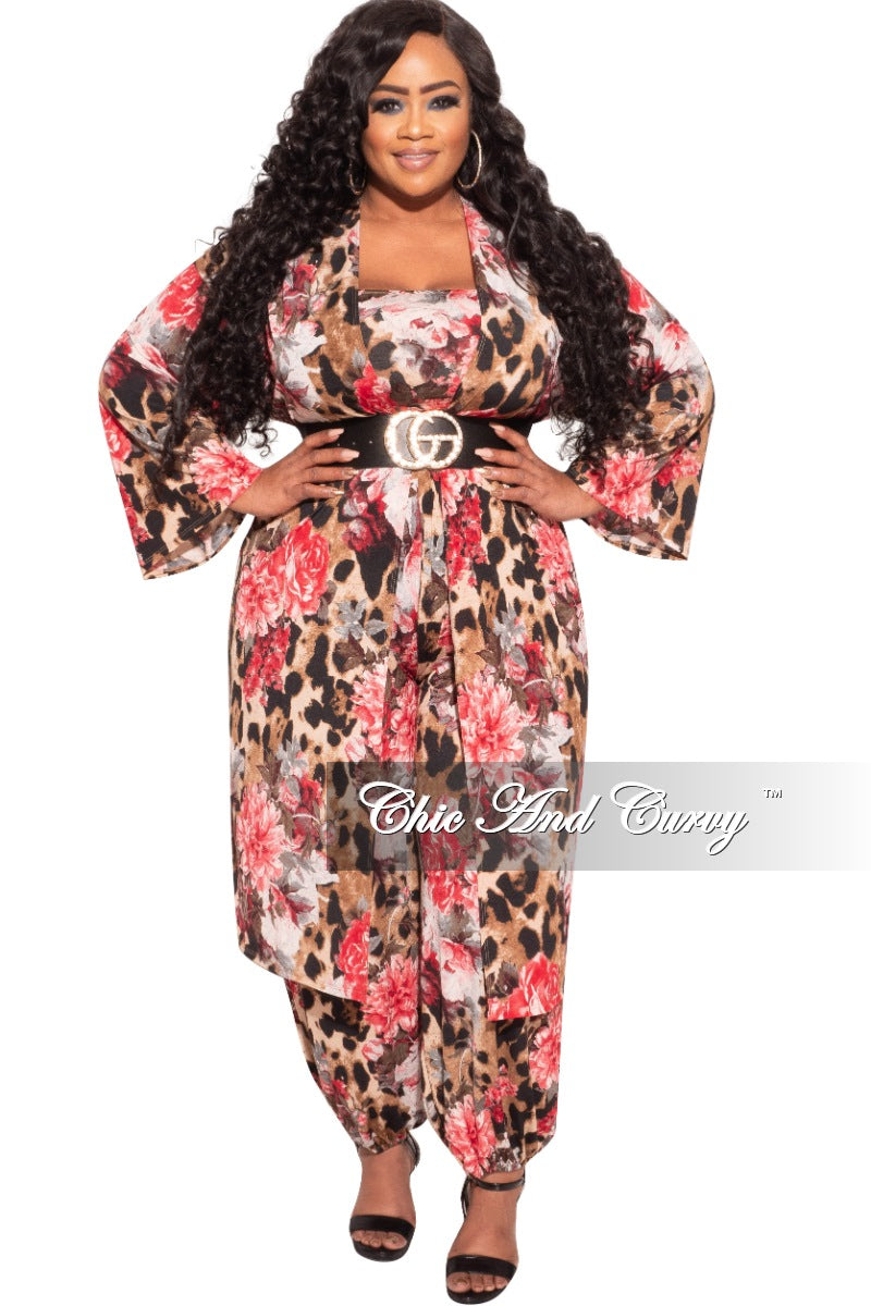 New Plus Size 3-Piece (Duster, Bandeau Top and Pants) Set in Animal Print with Pink Flowers