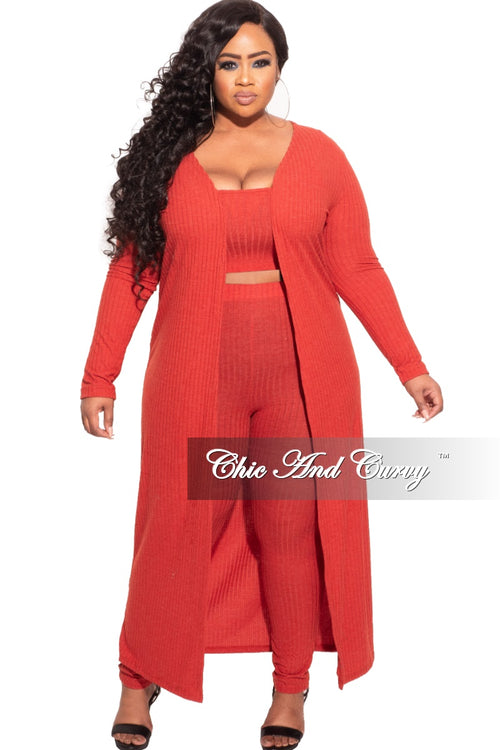 *Final Sale Plus Size 3-pc (Duster, Crop Tank Top & Pants) Ribbed Set in Burnt Orange
