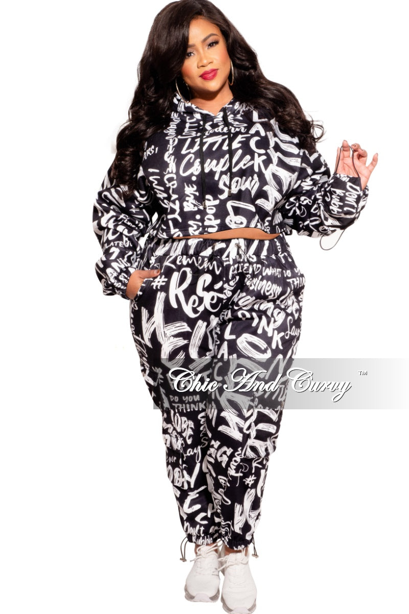 New Plus Size Long Sleeve Hooded Jogging Set in Black and White